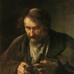 Крестьянин, обстругивающий костыль. 1834