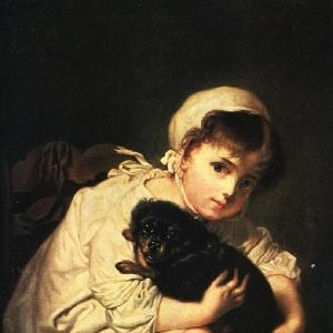 Девочка с собакой. Копия картины Ж.-Б. Греза. 1820—1830-е