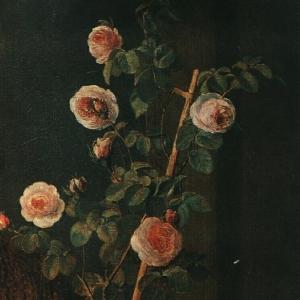 Девушка с горшком роз. Фрагмент