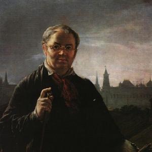 Автопортрет с кистями и палитрой на фоне окна с видом на Кремль. 1844