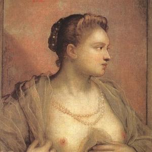 Якопо Тинторетто - Портрет женщины, обнажающей свою грудь