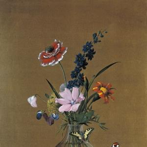 Букет цветов, бабочка и птичка. 1820