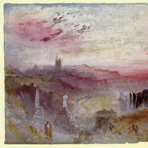 Джозеф Мэллорд Уильям Тёрнер - Вид на город в Сусете, Кладбище на заднем плане