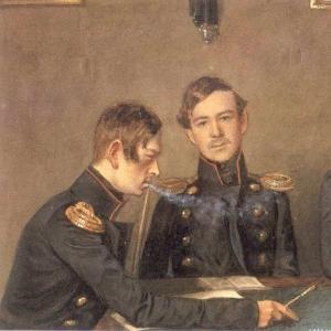 Групповой портрет Андрея, Григория и Александра Васильевичей Дружининых. 1840-е