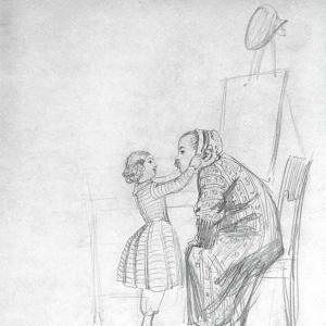 Ах, папочка, как к тебе идет чепчик. Автошарж. 1848