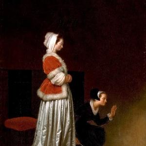 Дама со служанкой, наказывающие спаниеля
