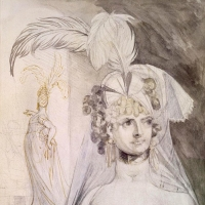 Иоганн Генрих Фюсли - Куртизанка с перьями, бантом и вуалью в волосах