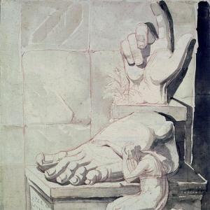 Иоганн Генрих Фюсли - Скульптор в отчаяние от величины античных фрагментов (правой руки и левой ноги Колосса Константина)