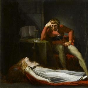Иоганн Генрих Фюсли - Итальянский суд или Эззелье, граф Равенны, размышляет над телом Медуны, убитой им за неверность во время его отсутствия на Святой Земле