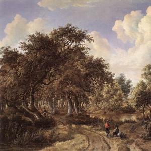Хоббема Мейндерт - Лесной пейзаж, 1660