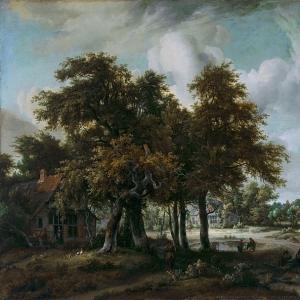Хоббема Мейндерт - Лесной пейзаж с хижинами