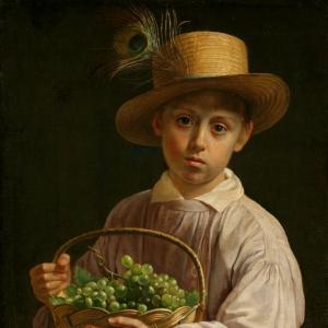 Хруцкий Иван - Портрет мальчика в соломенной шляпе, 1830-е годы