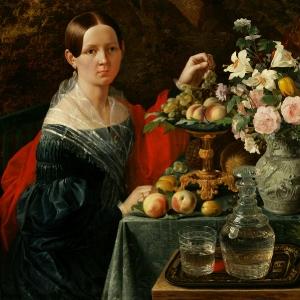 Хруцкий Иван - Портрет неизвестной с цветами и фруктами, 1838,
