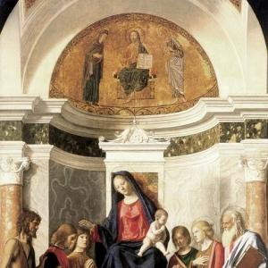 Джованни Батиста Чима да Конельяно - Мадонна с младенцем на троне