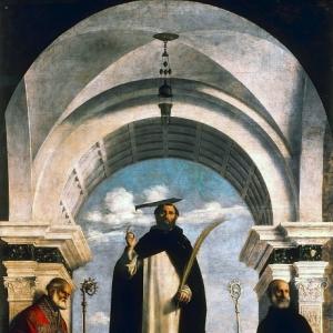Джованни Батиста Чима да Конельяно - Святой Петр Мученик со святыми Николаем Чудотворцем и Бенедиктом