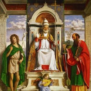 Джованни Батиста Чима да Конельяно - Святой Петр на троне со святыми Иоанном Крестителем и Павлом