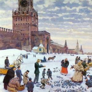 Кормление голубей на Красной площади в 1890-1900 годах