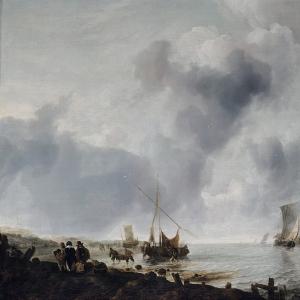 Ян ван де Капелле - Парусные лодки у берега