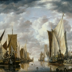 Ян ван де Капелле - Корабельный парад с салютирующим флагманцем