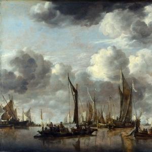 Ян ван де Капелле - Речной пейзаж с салютующей голландской яхтой