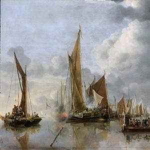 Ян ван де Капелле - Приветствие салютом шлюпки с начальством каботажного флота